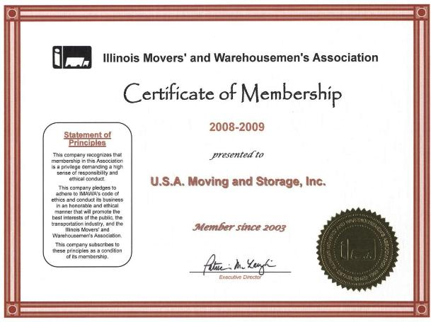 Member of Movers Association - 2008-2009