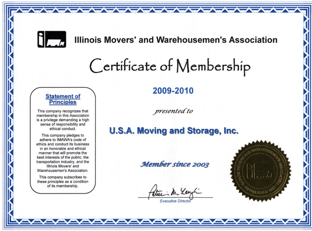 Member of Movers Association - 2009-2010