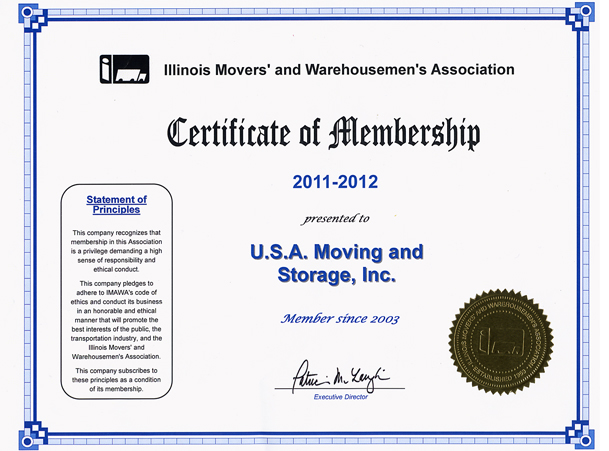 Member of Movers Association - 2011-2012